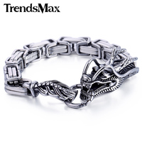 Trendsmax Animal Dragon Head Braid Byzantine Wheat Cable Link 316L Stainless Steel Bracelet Mens Chain Jewelry