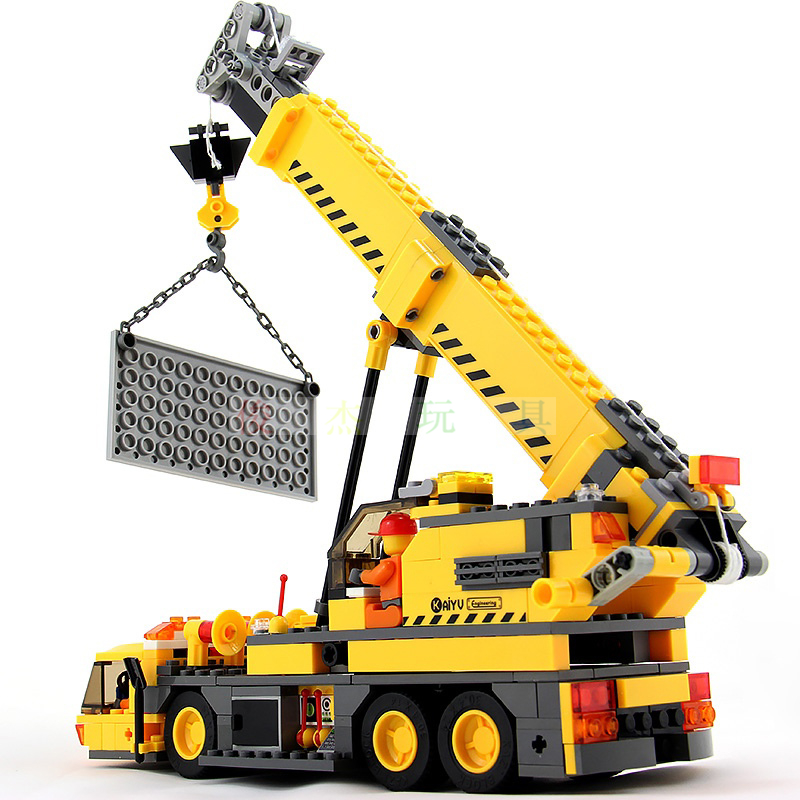 City Crane Building Blocks Sets Model 380pcs Educational DIY Bricks Toys For Children gift sermoido 02012 774pcs city series deep sea exploration vessel children educational building blocks bricks toys model gift 60095