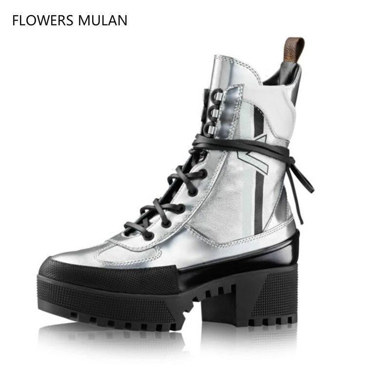 Style Punk métallique en cuir miroir femmes bottines haute plate-forme moto bottes Cool argent à lacets automne hiver bottes nouveau