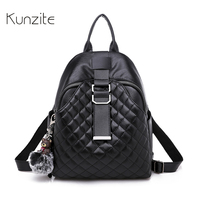 Plaid Backpack Bags Casual Daily Use Daybag Women Black PU Leather Daypack Rucksack Backpack Bags for Ladies and Girl Laptop Sac