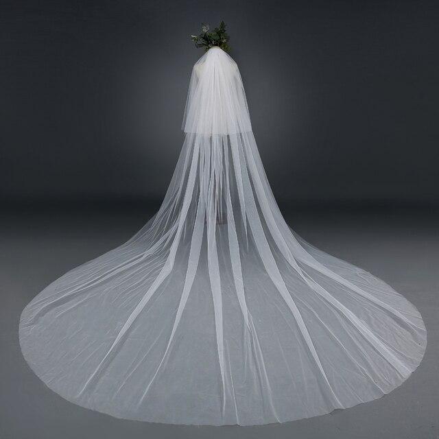 Simple Long Wedding Veil Mantilla Wedding Veil Velos De Novia Veu De Noiva Longo  Meters