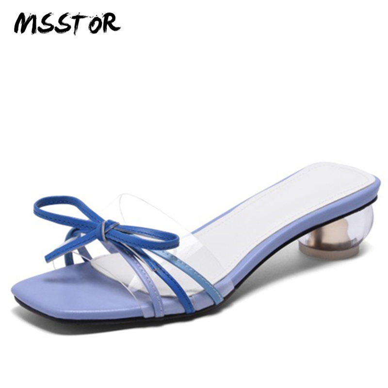 MSSTOR Butterfly-knot Women Slippers Peep Toe Fashion Causal Mixed Colors Pumps Women Shoes Strange Style Women Summer Shoes