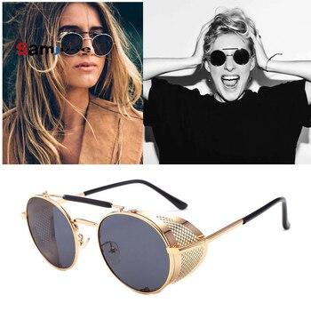 775124f20 Samjune Retro Rodada óculos de Sol do Metal Do Vintage SteamPunk Estilo de  Malha Lateral Marca Designer Óculos De Sol Oculos De Sol Shades Proteção UV