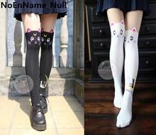 Anime Cosplay Sailor Moon Luna Cat Padrão meias Calças Justas Meias Meias 3D de Impressão Preto Branco