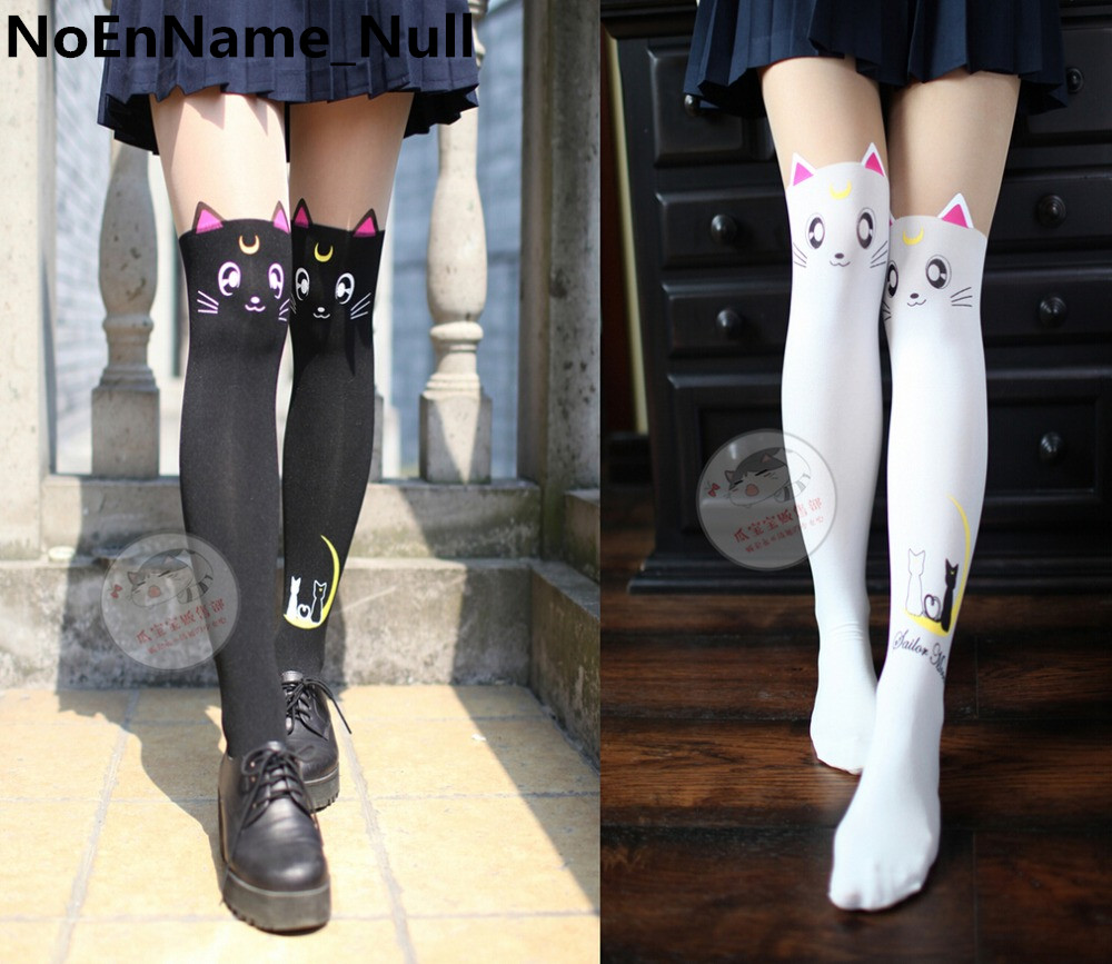 Anime Sailor Moon Cosplay Luna Cat Pattern Pantyhose Tights Socks Stockings 3D Print Black White