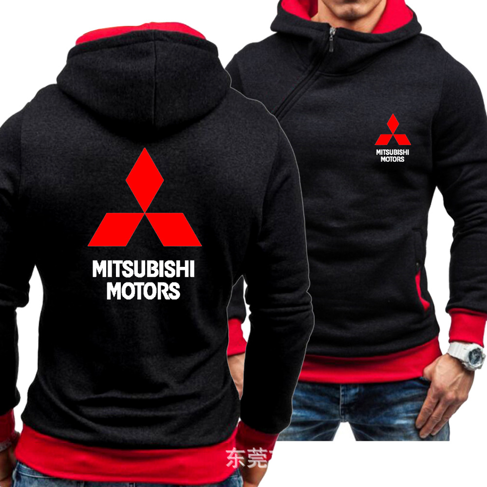 Mitsubishi Hoodies Jacket Winter Men Pullover Man Coat Casual Oblique Zipper Fleece Mitsubishi Logo Sweatshirts Mens Hoodies
