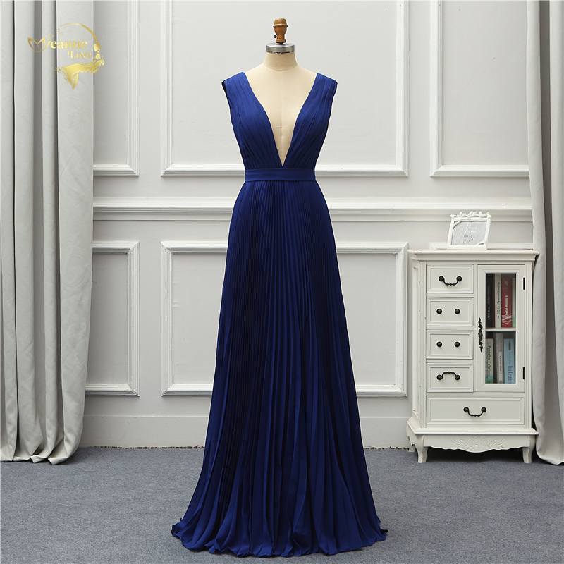 Jeanne Love Formal Evening Dress Simple New Arrival Low Cut Sexy Backless Elegant Party Robe De Soiree Vestido De Festa OL5222-in Evening Dresses from Weddings & Events