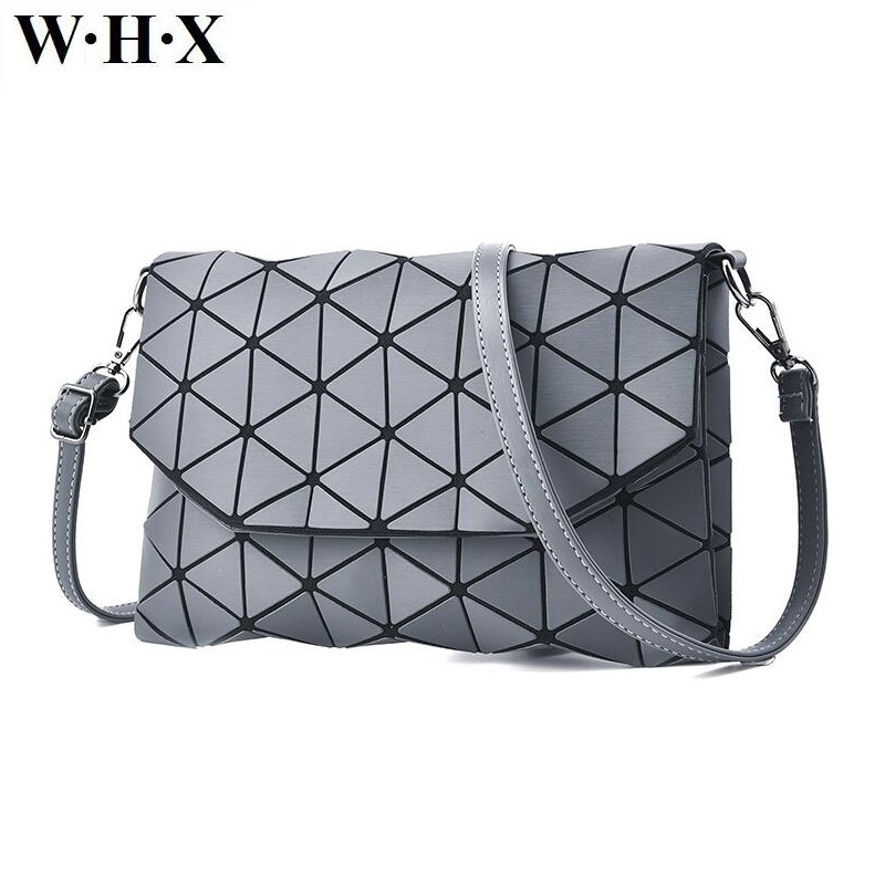 WHX Geometric Shape Women Messenger Bag Gray Fashion Handbag For Female Purse Shoulder Satchel Crossbody Bags New Geometry Style new fashion women girl student fresh patent leather messenger satchel crossbody shoulder bag handbag floral cover soft specail