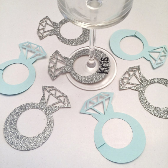 Glitter Silver Diamond Glass Ring Wine Drink Marker Name Tags Charms  Wedding Party Bachelorette Bridal shower place table cards 922e31adbfc8