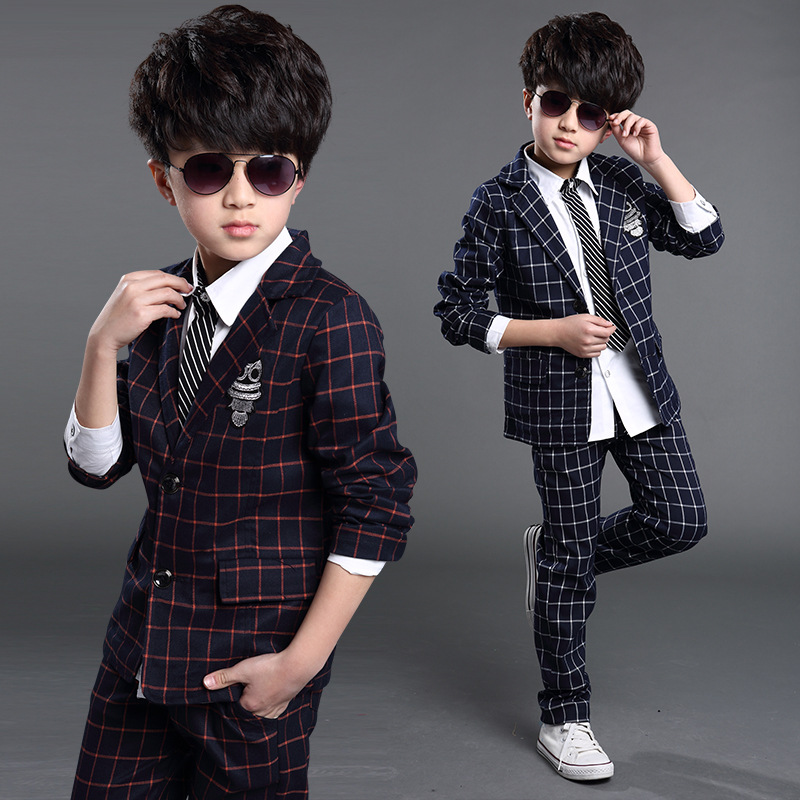 5e6e9867c23146 Winter autumn Boys wedding clothes plaid British gentlemen suits kids  blazers noble style