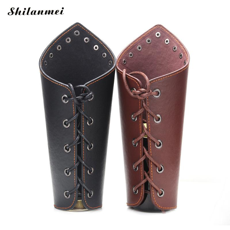 1PC Faux Leather Cosplay Props Wide Bracer Lace Up Arm Armor Cuff Cross String Steampunk Medieval Gauntlet Wristband For Men