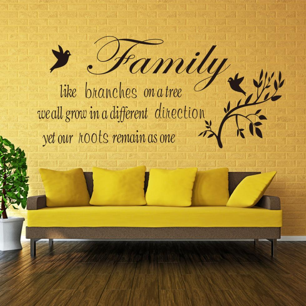 Family likes branch Birds quote Living room Bedroom vinyl wall ...