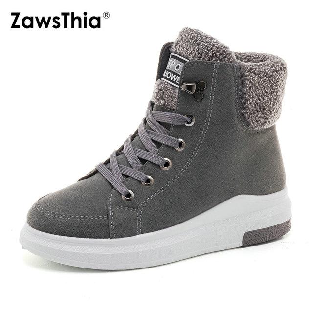 nuova versione prese di fabbrica consegna gratuita ZawsThia punta rotonda della piattaforma zeppe donna di inverno casuali  scarpa da tennis scarpe con pelliccia all'interno caldo stivali neve delle  ...