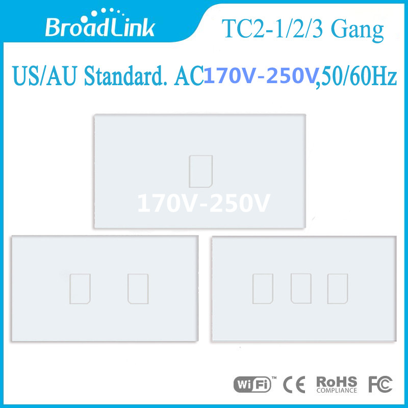 New Arrival Broadlink US/AU TC2-1/2/3gang Wireless Remote Control Switch,smart phone Touch Light Switch For by rm pro AC170~250V