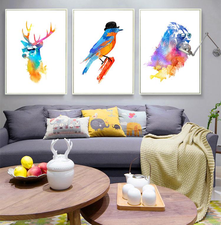 aceite digital de diy pintura abstracta ciervos len foto decoracin de la pared en lona impresiones