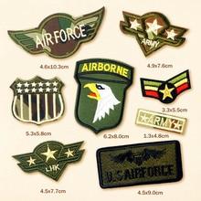 8 pcs lot AIRBORNE US ARMY LHK Lencana Bordir Patch Applique Perlengkapan  Jahit Setrika Pakaian Dekoratif Badge f7f861ad89