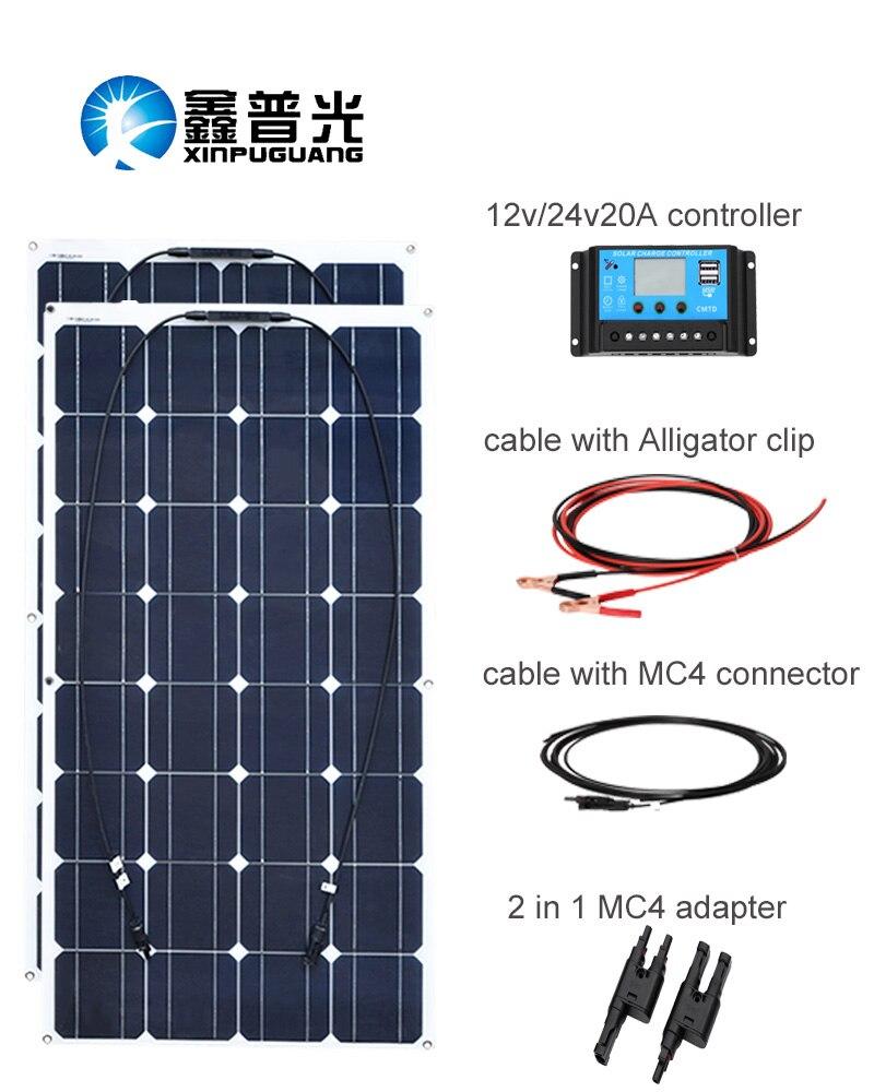 XINPUGUANG 200 w panneau Solaire système 2 pcs 100 w Flexible panneaux solaires 12 v ou 24 v solaire Contrôleur connecteur Photovoltaïque fil
