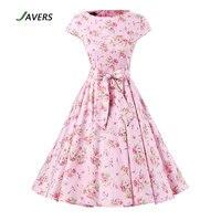 JAVERS Elegant Floral Print 50s Vintage Rockabilly Swing Dress Women Audrey Hepburn Robe Pin Up