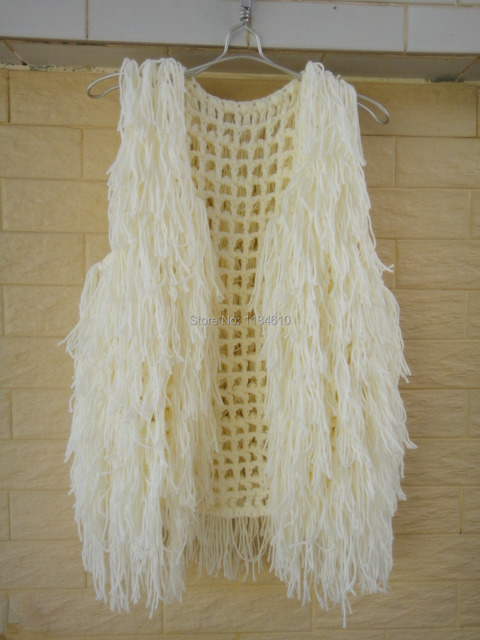 Boho Hippie Fringe Vest Crochet Sweater Cardigan Sleeveless Top In