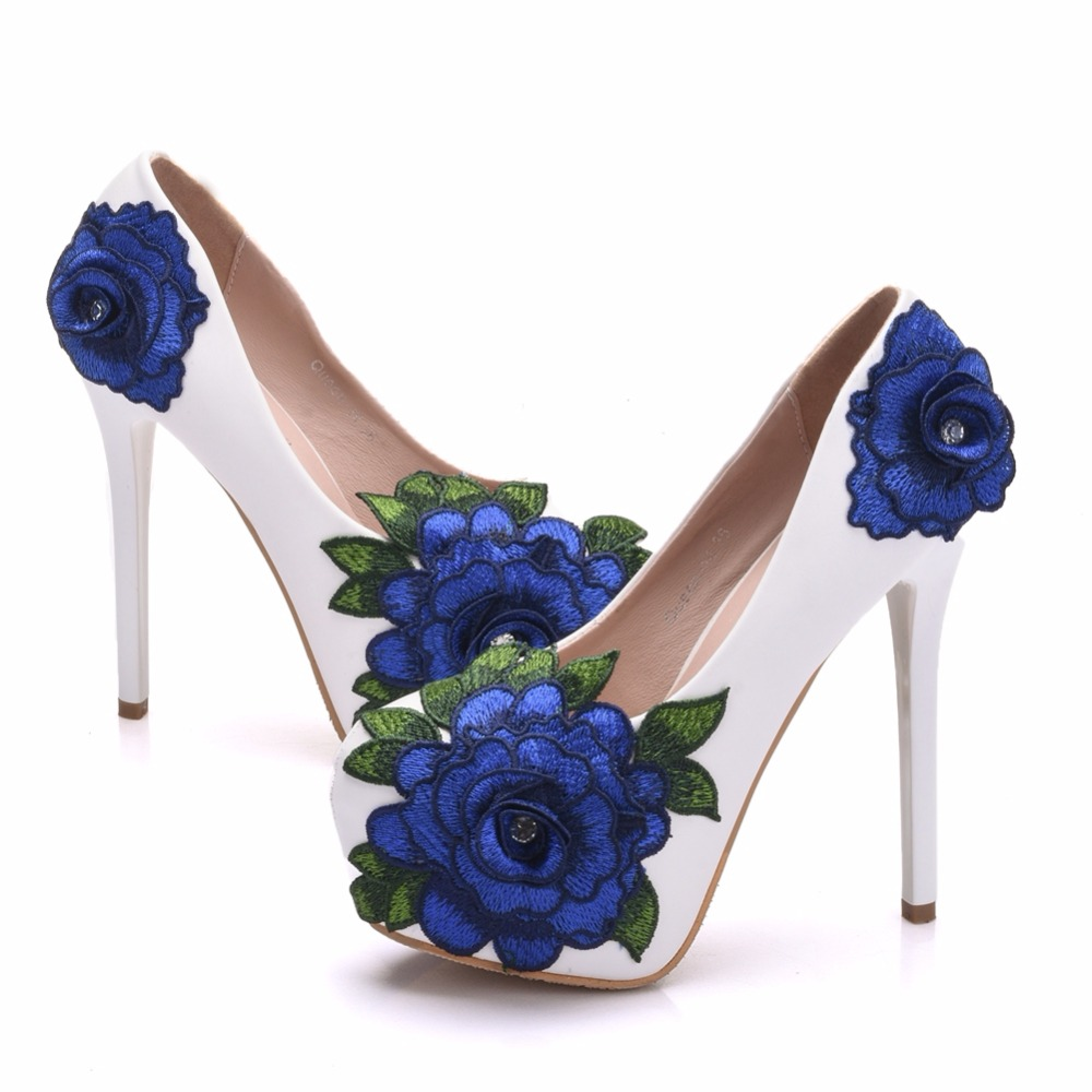 7a85ebc880 US $45.0 30% OFF|Crystal Queen Blue Lace Flower Bride Shoes High Heel  Wedding Dress Shoes With Matching Bag Cutomized Ceremony Pumps With  Purse-in ...