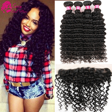 Brazilian Virgin Hair Deep Wave With Frontal Closure Queen Hair Products 13×4 Ear To Ear Lace Frontal Closure With Bundles