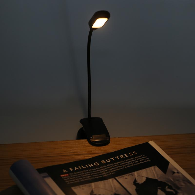 Clamp Desk Lamp Battery Powered 5LED Clip On Lamp with 3 Positions Adjustable Light Table Lamp Color and Flexible Neck