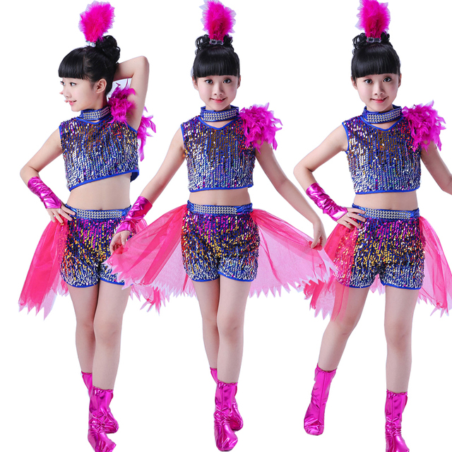 kids sequined modern hip hop dancing outfits girls jazz tap dance
