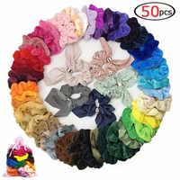 50 Pcs Hair Scrunchies Fabric Velvet Elastic Hair Bands Hair Ties Ropes Scrun Styling Tools Cheap Multicolor Cute Bow Hair Ties