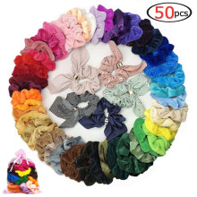 50 Pcs Hair Scrunchies Fabric Velvet Elastic Hair Bands