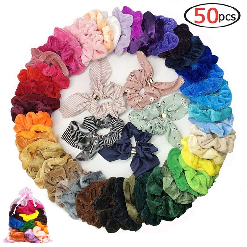 50 pièces Cheveux Chouchous Tissu Velours Élastique Bandes De Cheveux Cheveux Cravates Cordes Scrun Styling Outils Pas Cher Multicolore Mignon Arc Attaches De Cheveux