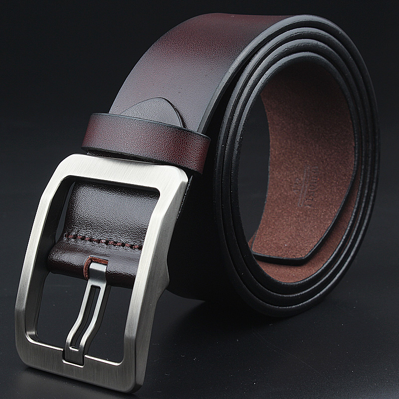 cow genuine leather men fashion sam browne   belt   jeans vintage pin buckle male strap luxury brand quality plus size130 150 140