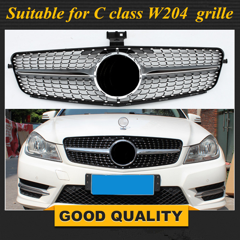 Front grille Suitable for Mercedes Benz C Class W204 diamond grille C180 C200 C300 C250 C350 2008-2014 with emblem 11 11 promotion for w204 amg gt gtr grille for mercec class w204 racing grille c180 c200 c250 c300 2008 2014 front grill