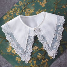 MIARA.L Korean cotton embroidered long pointed vest blouse false collar shirt false collar shawl for girls недорого