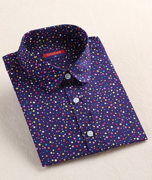 Dioufond, Хлопковая женская рубашка, блуза с длинным рукавом, красный горошек, Blusas Femininas, 5XL размера плюс, отложной воротник, женские модные топы - Цвет: Prcolordot