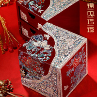 New Fashion Wedding Gift Jewelry Storage Boxes Wooden Princess Earrings Necklace Jewelry Collection Boxes Organizers for Gifts