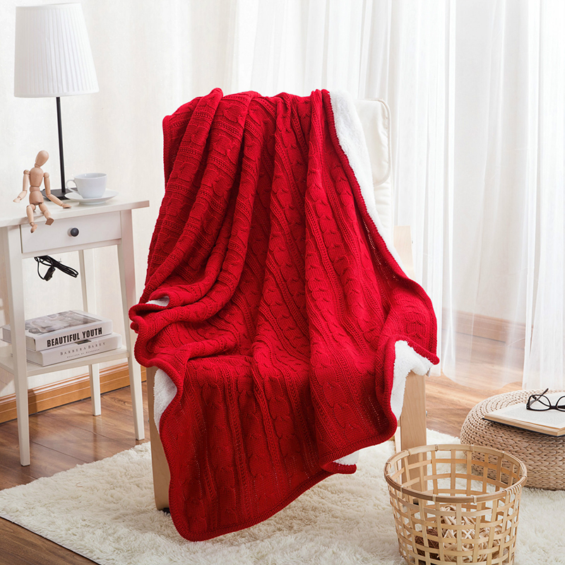 100% coton haute qualité mouton velours couvertures hiver chaud tricoté laine fil couverture canapé/lit couverture couette tricoté jet