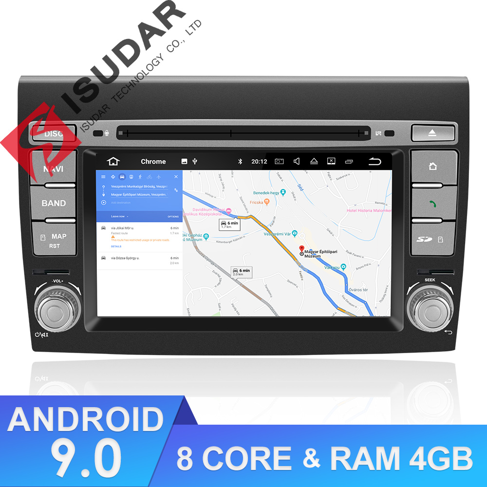 Isudar 2 Din Auto Radio Android 9 For Fiat/Bravo 2007-2012 Car GPS Stereo Multimedia Player Octa Core RAM 4GB ROM 64GB DSP DVR
