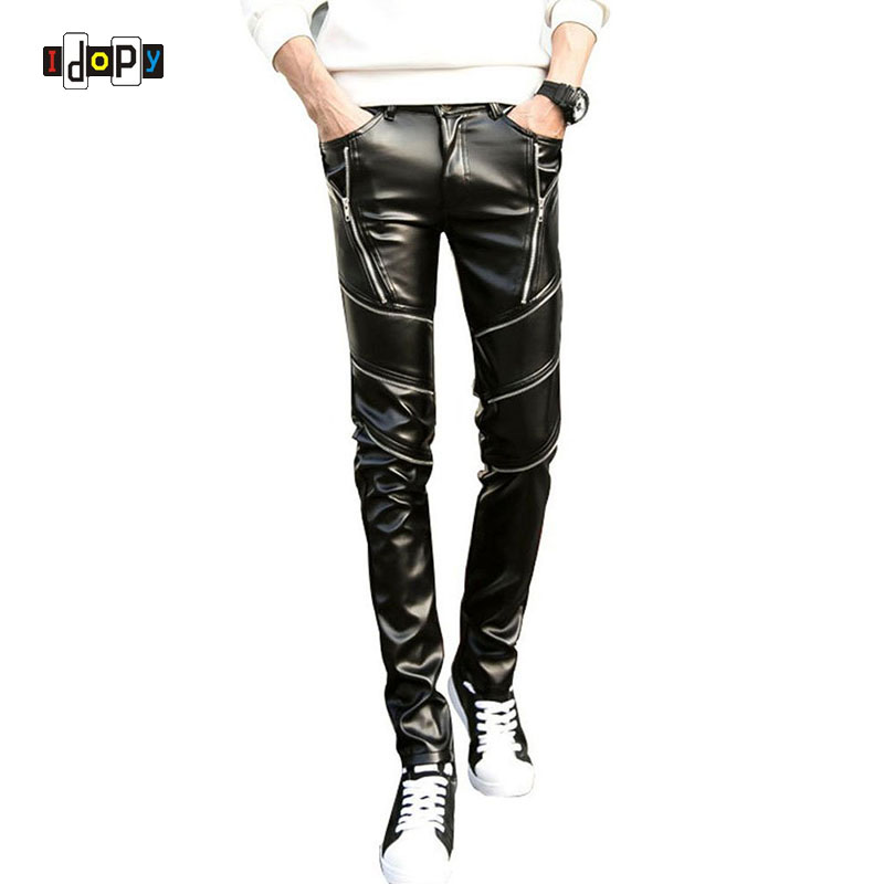 DJ Swag Skinny Mens Faux Leather PU Tight Black Joggers Biker Pants For Men Boys With Zippers