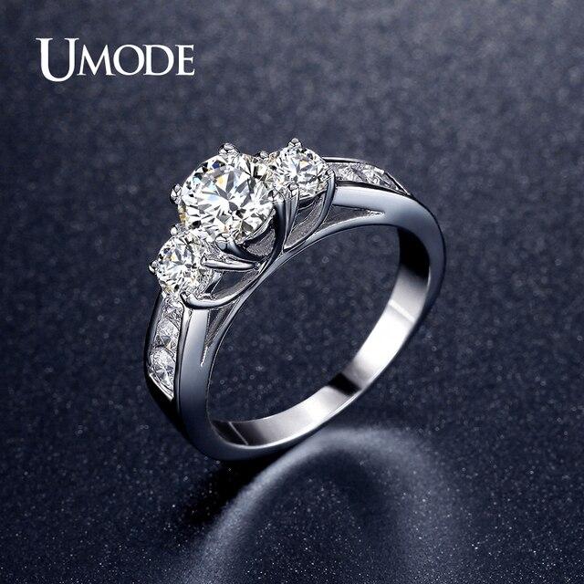 6515e6338fcb UMODE Brand tres piedras boda anillo de compromiso oro blanco para mujeres  de Color CZ anillo