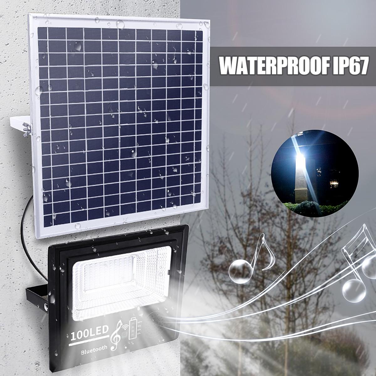Lampe d'extérieur 50/100/192/300 énergie solaire LED 50 W/100 W/200 W/300 W musique lumière d'inondation bluetooth haut-parleur IP67 étanche économie d'énergie