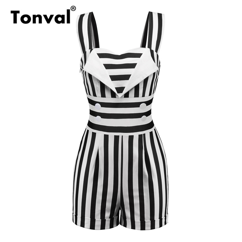 Tonval Striped Vintage Pin Up Jumpsuit Elegant Short Romper Women Button Front Retro Playsuit 1950s Summer Black Overalls