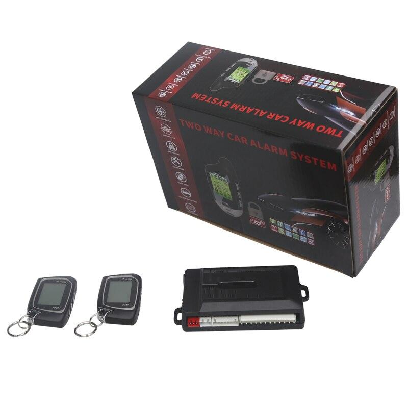 Nouveau système d'alarme de voiture bidirectionnelle deux 2 voies LCD système de sécurité d'alarme de voiture avec porte centrale d'entrée sans clé