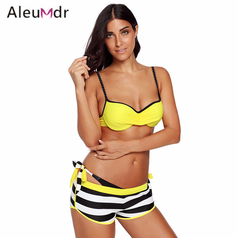 Aleumdr Swimming Suit For Women Bikini Set 3 Piece Blue Wrinkled Bra Striped Bikini Bottom Swimsuit LC410720 Trajes De Banos цена 2017
