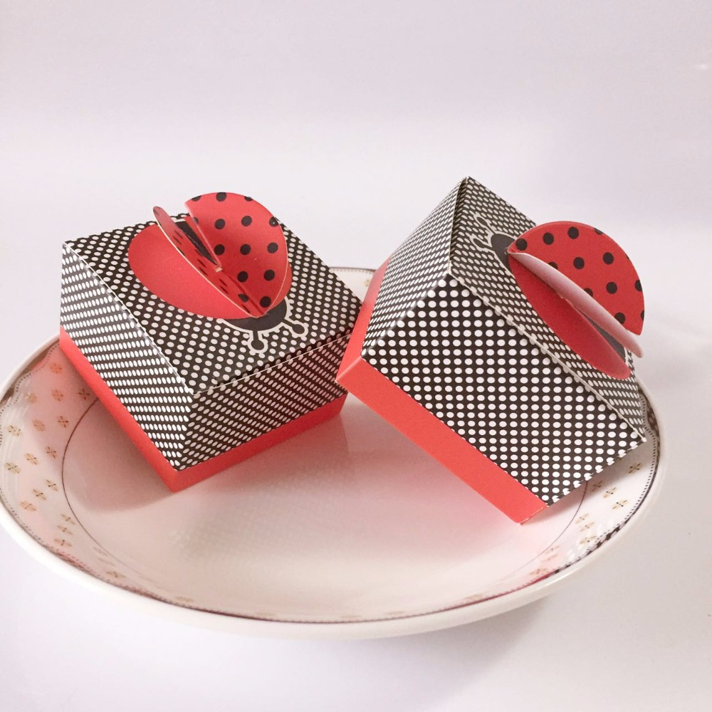50pcs 3D Wing Ladybird Candy Boxes Ladybug Baby Shower Kids Birthday Party Favors Box Wedding Gifts Box Chocolate Packaging