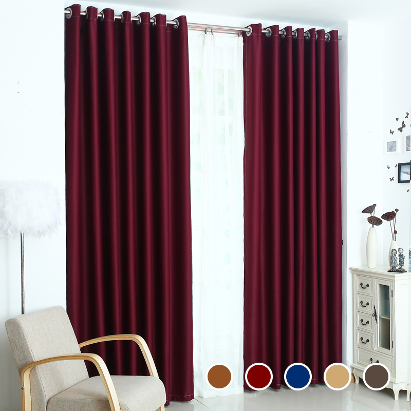 Top Finel Solid Polyester Ready Made Window shade Blackout Curtains For living Room the Bedroom cortina Window Treatments drapes