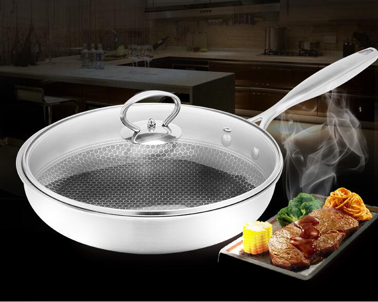 2017 304 stainless steel Uncoated no smoke small frying pan