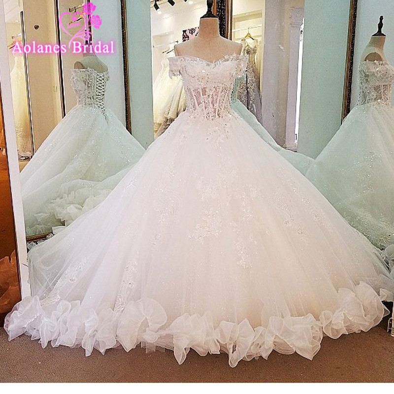 Vestido De Noiva 2017 New Elegant Lace Applique Tulle: 2017 New Design Arabic Ball Gown Wedding Dresses Illusion