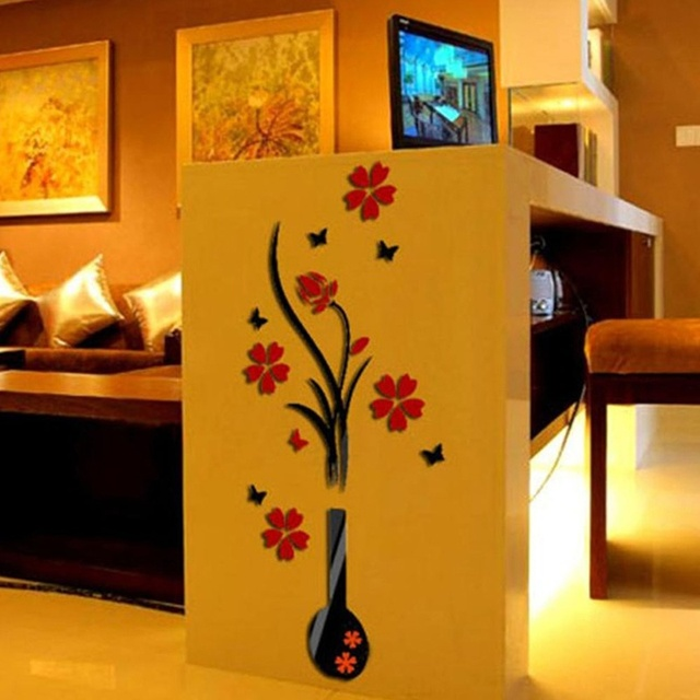 3D wall sticker acrylic DIY vase flower tree decal wall ...