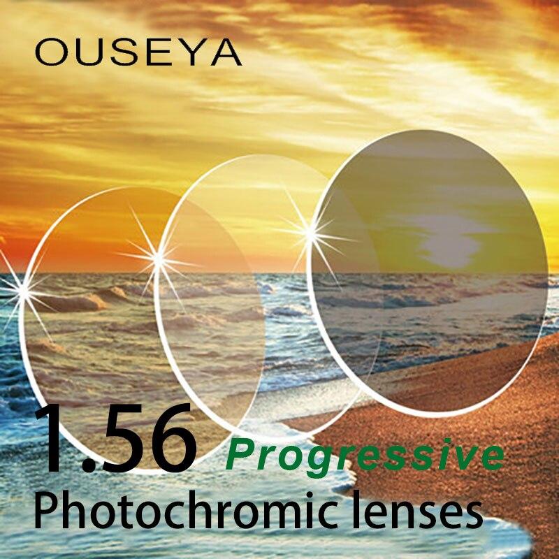 1 56 Multifocal Progressive Photochromic Grey Brown Aspheric Prescription Resin Lenses Anti UV Oil Water Reflect