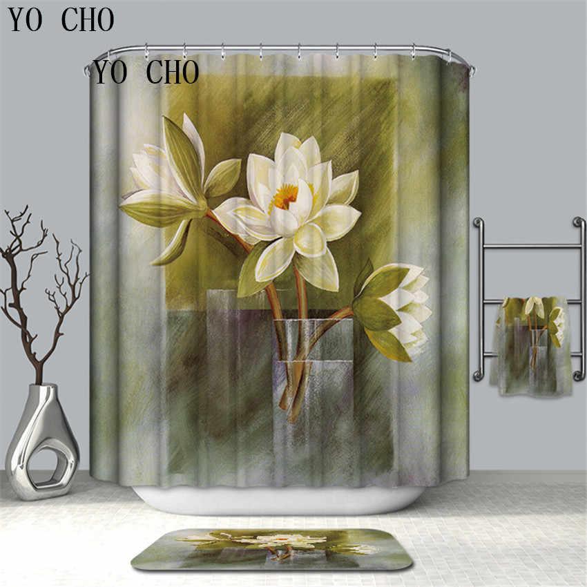 YO CHO Fresh Flower And Butterfly Printed Shower Curtains High Quality Eco-friendly Bathroom Curtain Home Bathroom Decor Cortina